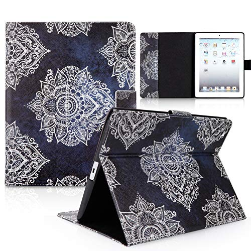 iPad Case, iPad 2/3/4 Case, HAOCOO Stylish Art Printed Flip PU Leather Stand Protective Case with Card Slots for Apple iPad 2/3/4 Generation (9.7 Inch) (Blue Mandala)