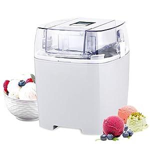 Costway Ice Cream Maker 1.6 Quart Automatic Macarons Color Ice Cream Machine, custard Frozen Yogurt Sorbet Gelato Machine with Auto Shut Off Timer, LCD Display and Mixing Paddle for Soft Serve Dessert (White)