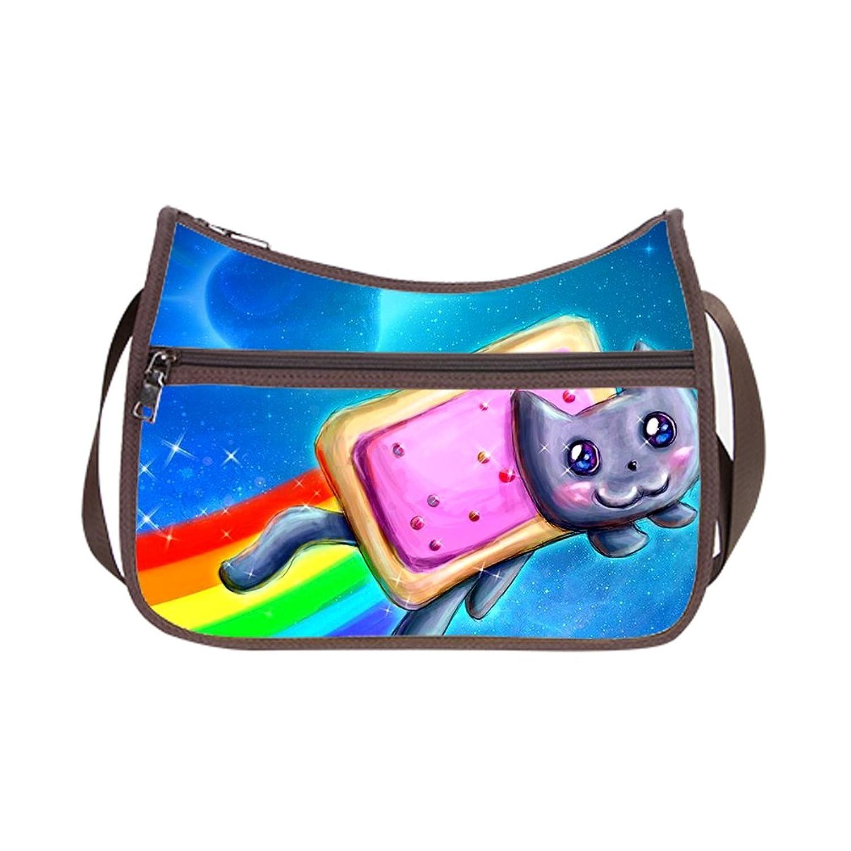 JIUDUIDODO Custom Oxford Fabric Funny Cat & Galaxy Space Hobo Bag Cross Body Handbags Casual Bags (Twin Sides)