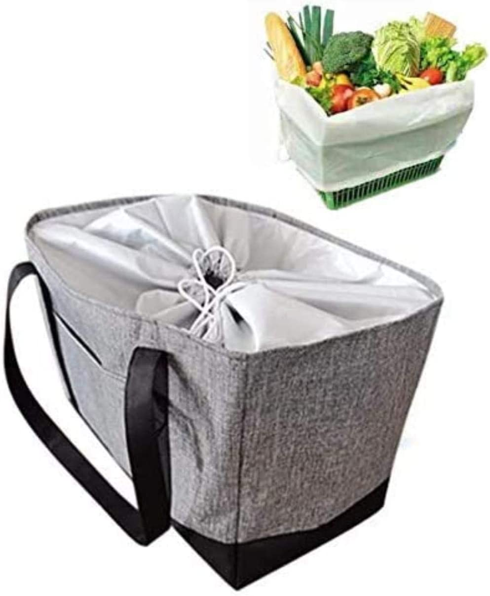 Large Reusable Insulated Grocery Shopping Cart Insert Bag with Drawstring, Heavy Duty Alumimum Foam Tote Thermal Bag for Frozen Cold Hot Foods Transport, Grey