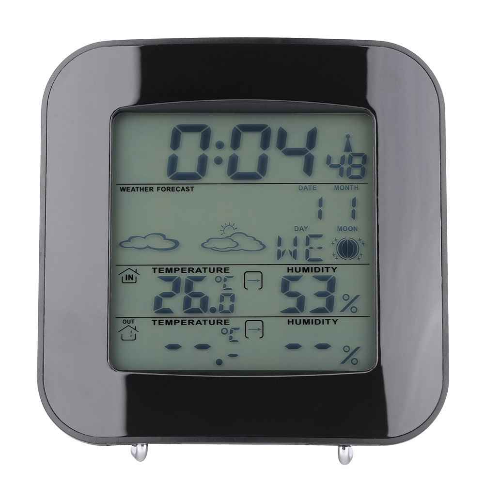 Wireless LCD Digital Weather Station Indoor Outdoor Thermometer Hygrometer Humidity Temperature Monitor Portable Snooze Function Alarm Clocks Time Date Week Display, 7 Languages Available Zerodis