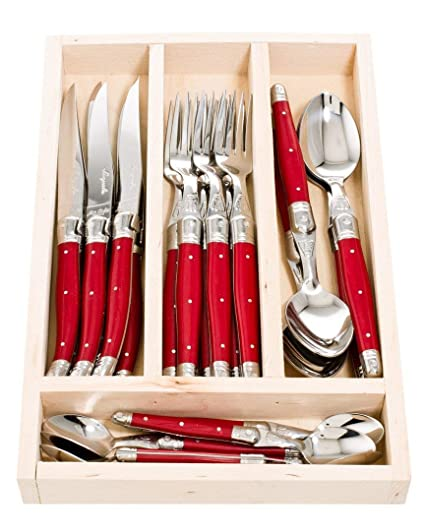 Laguiole Jean Dubost 07/13152 - Cubiertos y cubertero de madera, multicolor, 24