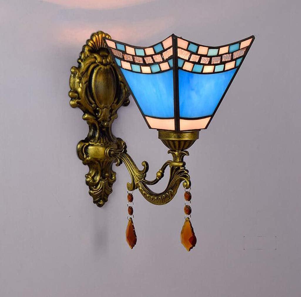Lámpara De Pared Mediterránea De Vidrieras Tiffany Style Azul Lámpara De Pared De Golondrina De Hierro Forjado Creativo Europeo Comedor Dormitorio Pasillo De Baño Aplique Lámpara E27,Singlehead