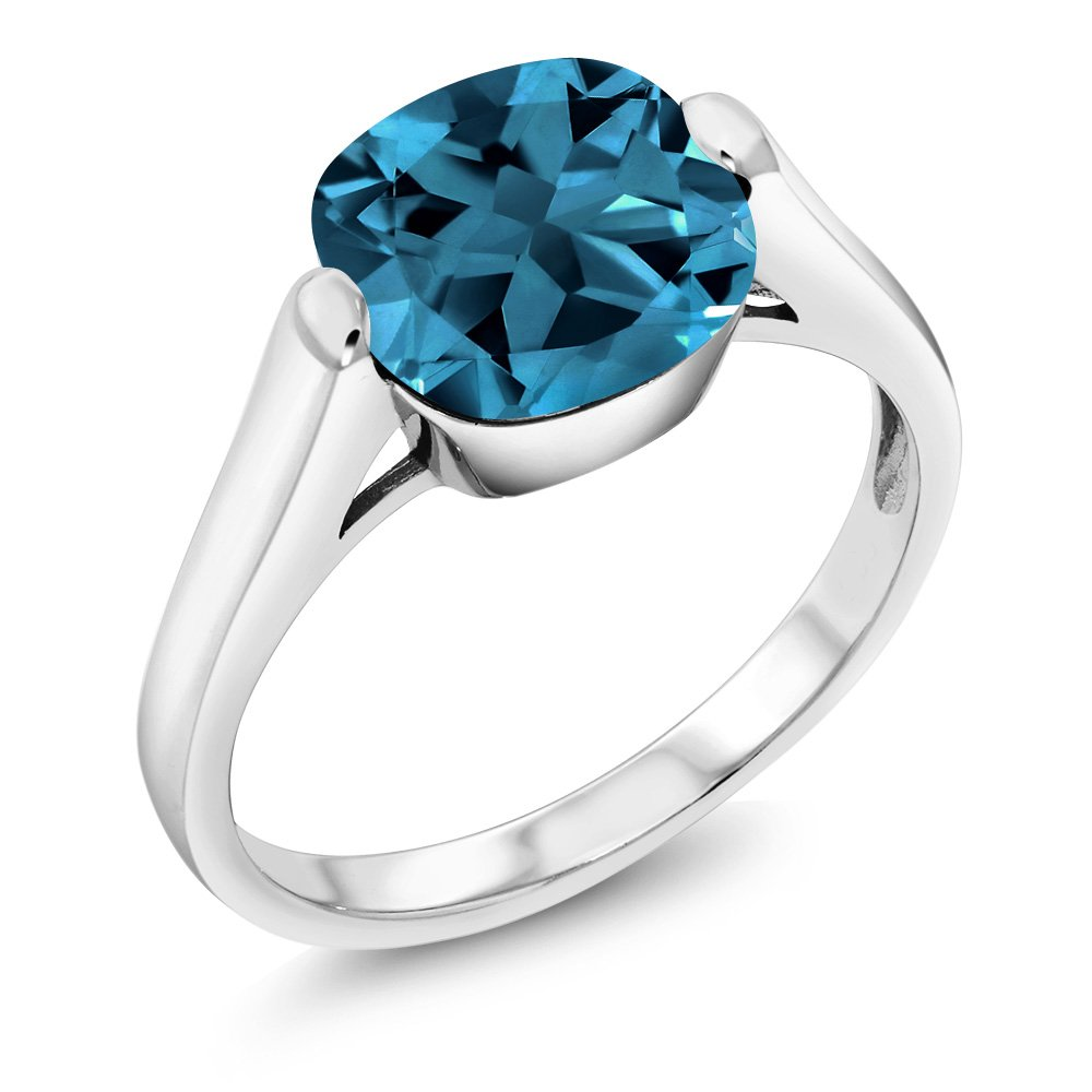 4.35 Ct Cushion London Blue Topaz 925 Sterling Silver Ring