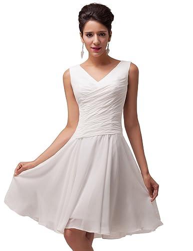 GRACE KARIN®Women's Ivory Lace-Up Knee-Length Wedding Reception Dresses