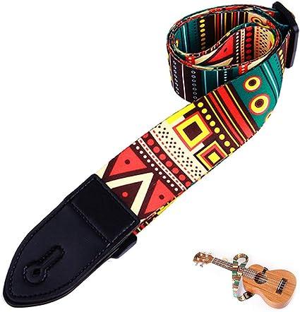 Correa de Guitarra, Correa para Ukelele Ajustable con Impreso de Estilo Retro Étnico, Correa de Guitarra de Poliéster Ajustable Adecuada para Guitarras de Bajo, Eléctricas yAcústicas: Amazon.es: Instrumentos musicales