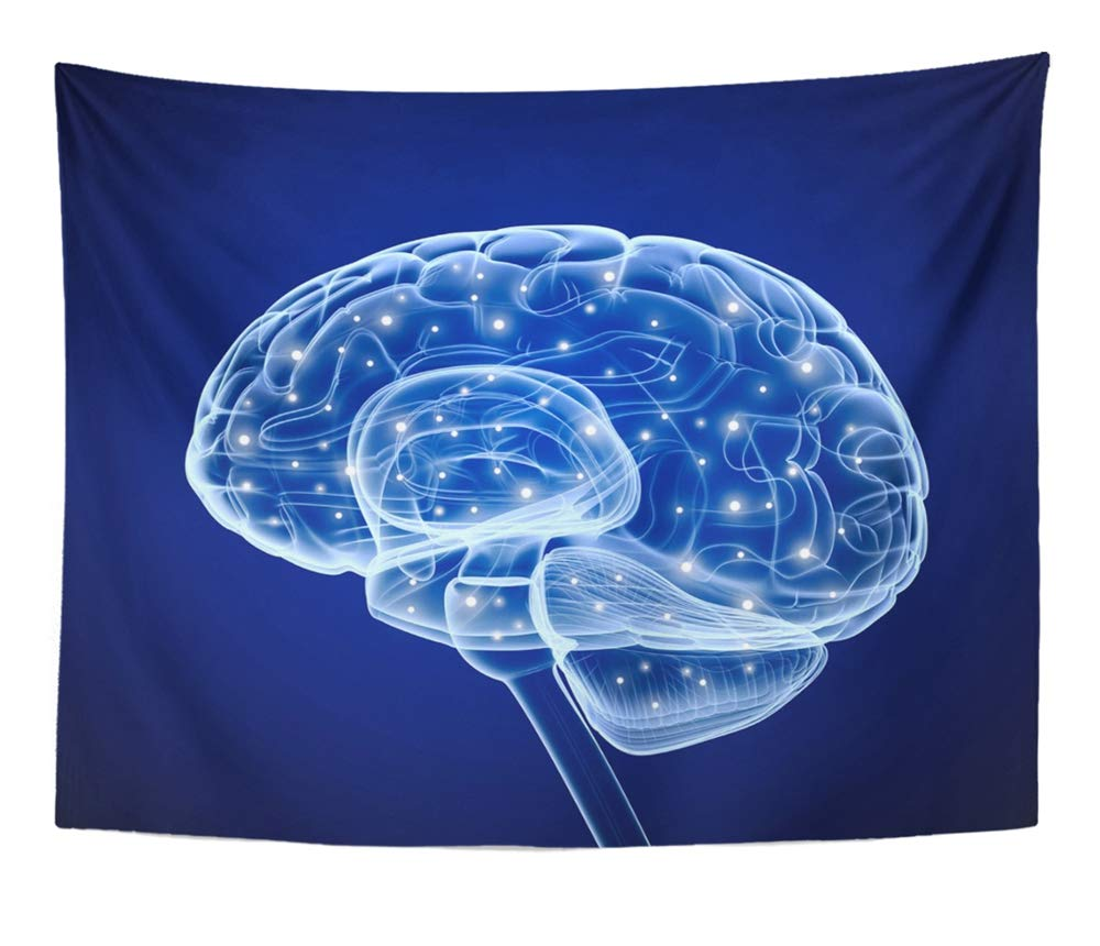 Emvency Tapestry Artwork Wall Hanging Neuron Brain Impulses Thinking Prosess Cell Think Neural Synapse Science Connection 60x80 Inches Tapestries Mattress Tablecloth Curtain Home Decor Print
