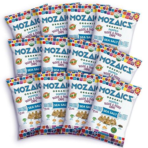(Mozaics Organic Popped Veggie & Potato Chips- Healthy snack, under 100 calories, better than veggie straws or stix - gluten free - 0.75oz single serve bags (Sea Salt,)