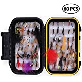 LotFancy Fly Fishing Lures Kit with Tackle Box by, Dry/Wet Flies,Nymph Flies, Wooly Bugger Flies, Streamers, Emergers, Caddis Fly Assortment for Trout Bass Salmon