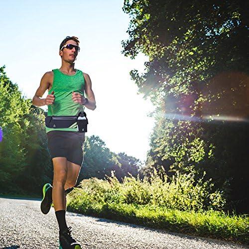 RIOWAY Running Belt- iPhone X 6 7 8 Plus Waist Bag, Best Fitness Gear, Reflective Waist Pack Phone Holder for Running Hiking Cycling Climbing. Men, Women Running Accessories Marathon Black1