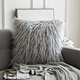 MIULEE Fluffy Soft Decorative Square Pillow Covers Plush Pillow Case Faux Fur Cushion Covers For Livingroom Sofa Bedroom Car 24 x 24 Inch 60x60 CM Light Grey