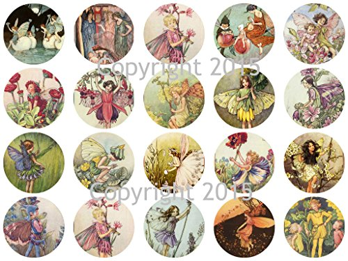 Assorted Vintage Fairy Images on 1 3/4