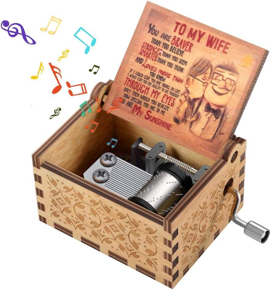 Caja de música de Madera con manivela para tu Amor