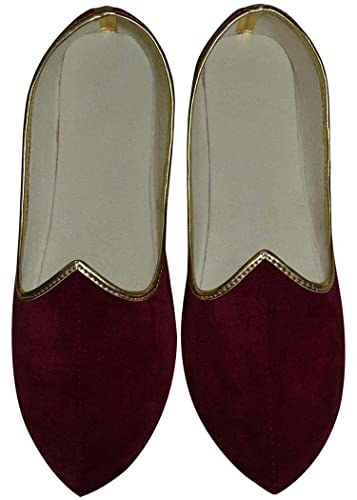 Mens Red Velvet Traditional Wedding Shoes MJ0139