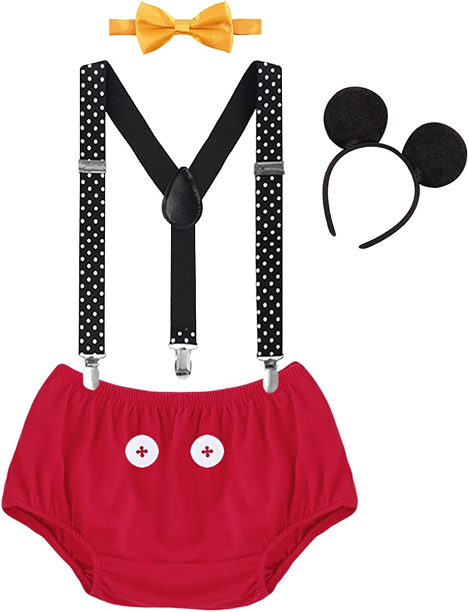 Headband 4pcs Clothes Set for 1st//2nd Birthday Cake Smash Costume for Toddler Kids 3-24 Months OBEEII Baby Boy Gentlemen Photography Props Outfit Newborn Infant Bloomer Shorts Braces Bowtie