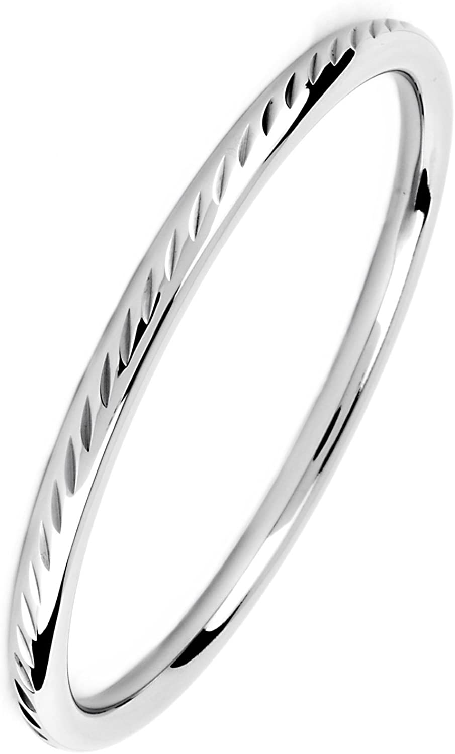 ELYA Bangle Bracelet 8 inch Polished Silver Stainless Steel Engraved with Your Choice Scalloped or Diamond Cut Pattern West Coast Jewelry