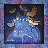 Westland Giftware MDF Wood Wall Art, Indigo Cats 8 by 8