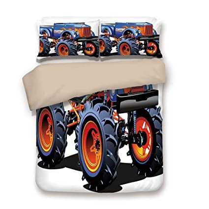 Duvet Cover Set,BACK Of Khaki,Man Cave Decor,Cartoon Monster Truck Huge