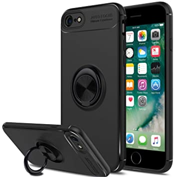 SORAKA Funda para iPhone 7,Funda para iPhone 8,Soporte rotación de 360 Grados,Carcasa de TPU Delgada y Compatible con Soporte magnético para Coche