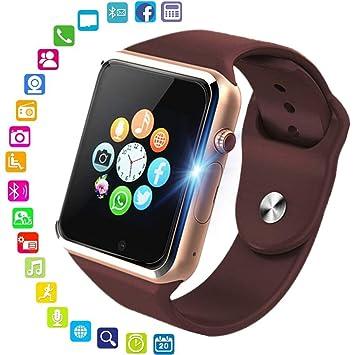 Smartwatch,PHIPUDS Reloj Inteligente Android con Ranura para Tarjeta SIM o Via Bluetooth, Pantalla tactil de 1.54