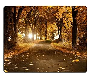 Fallen Leaves Park Road Autumn Mouse Pads Customized Made to Order Support Ready 9 7/8 Inch (250mm) X 7 7/8 Inch (200mm) X 1/16 Inch (2mm) High Quality Eco Friendly Cloth with Neoprene Rubber Luxlady Mouse Pad Desktop Mousepad Laptop Mousepads Comfortable Computer Mouse Mat Cute Gaming Mouse pad