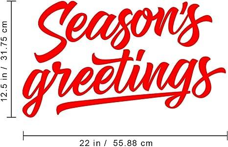 Season S Greetings Vinyl Wall Art Decal 12 5 X 22 Decoration Vinyl Sticker Red Kitchen Dining