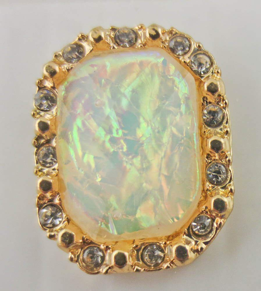 Goldtone Crystal Rhinestone Faceted Iridescent White Cabochon Stud Earrings