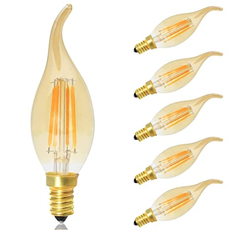 5X Bombillas LED Retro Vintage Vela Filamento E14 Regulable Luz Blanco Cálido 2700K,4W equivalente