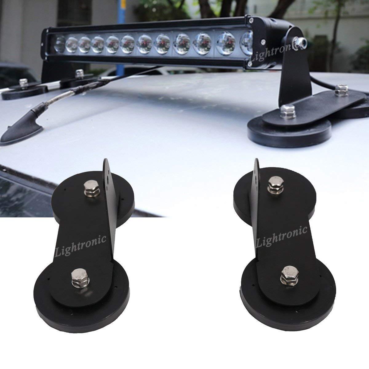 Lightronic 2PCS Magné tico Base Soportes de Montaje para Todos los Vehí culos Todo Terreno o Camiones Barco LED luz de Trabajo LED Light Bar Imá n Acero Inoxidable