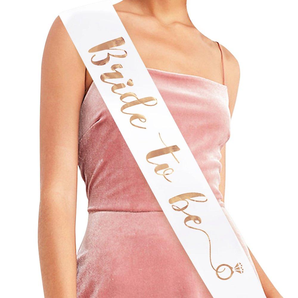 """Bride to Be"" Sash - Bridal Shower Gift Bridal Sash Bachelorette Sash Wedding Sash Bride Accessories & Gifts (White with Rose Gold Lettering)"