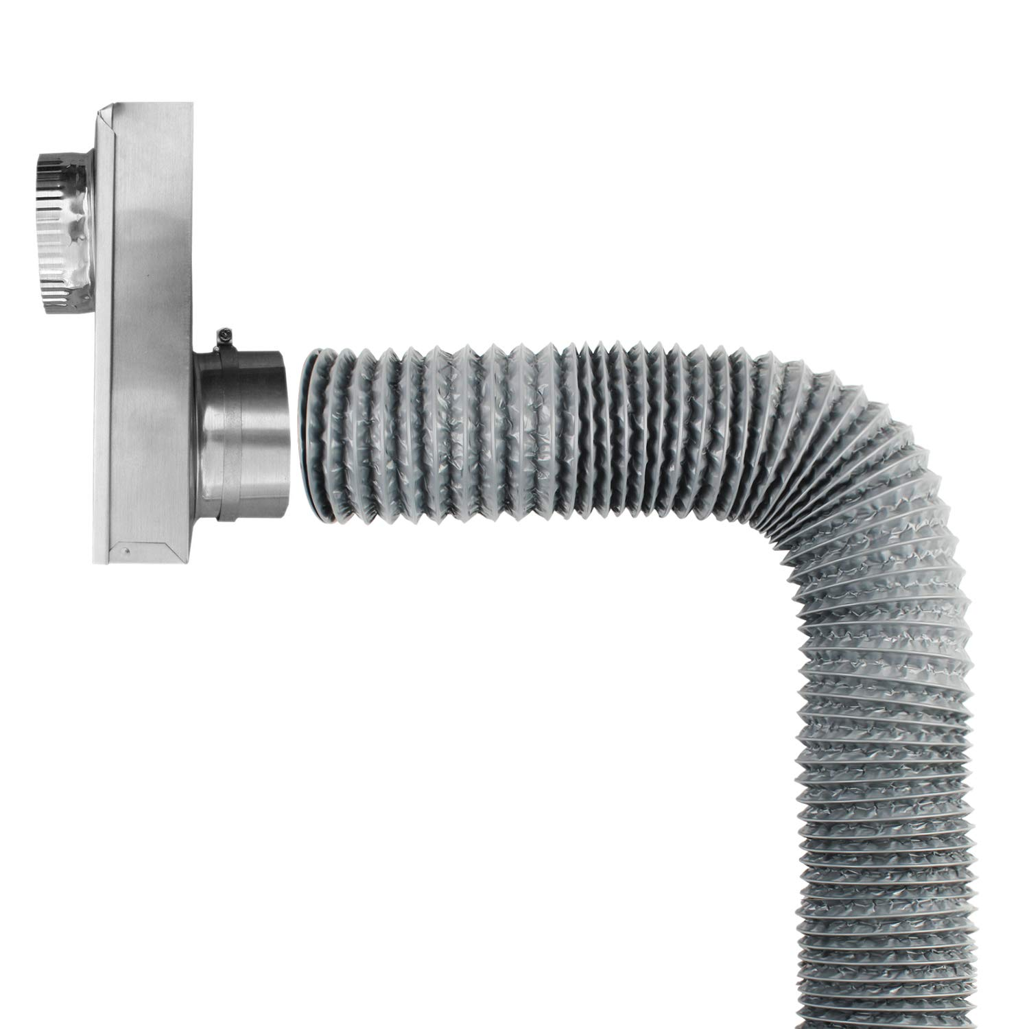Air Duct Eau Gray Flexible 4-Layers Aluminum Dryer Vent Tube Transition Duct Air Hose with 2 Screw Clamps Great for HVAC Duct Clothes Dryer Duct 5 Inch Duct Hose by 16 Feet