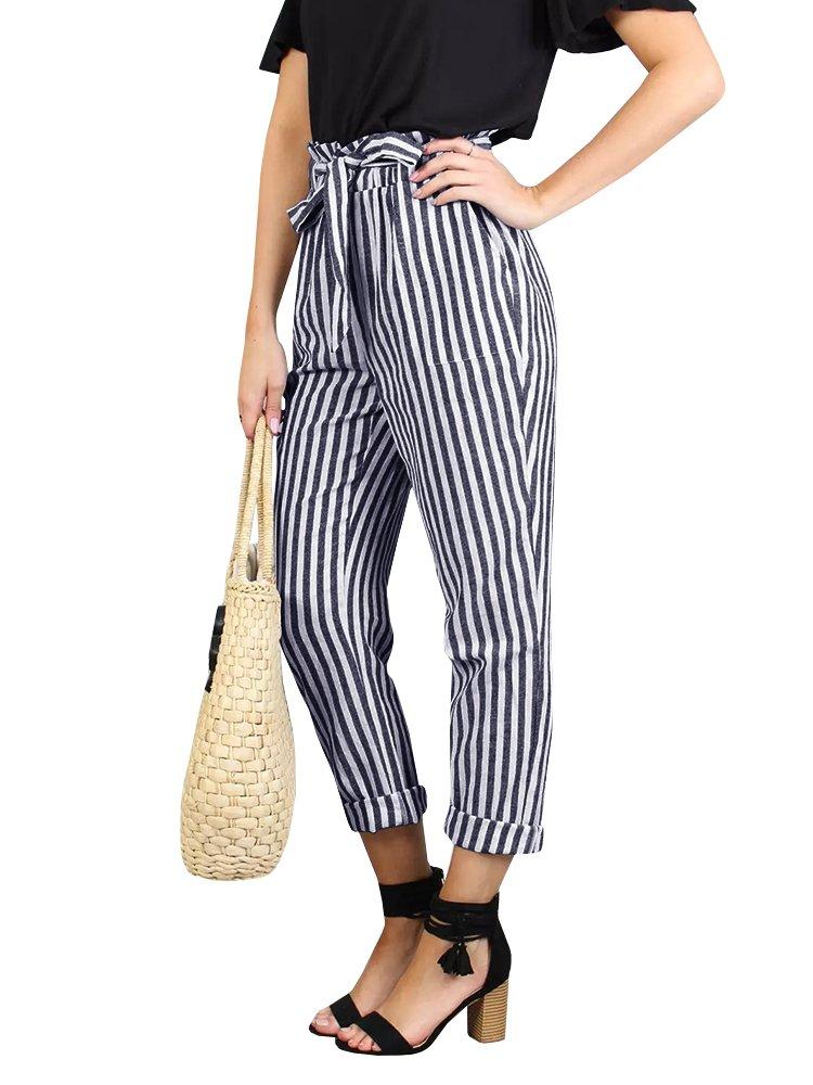 Faisean Womes High Waisted Striped Pants Straight Leg Long Pallazzo Office Paper Bag Pants