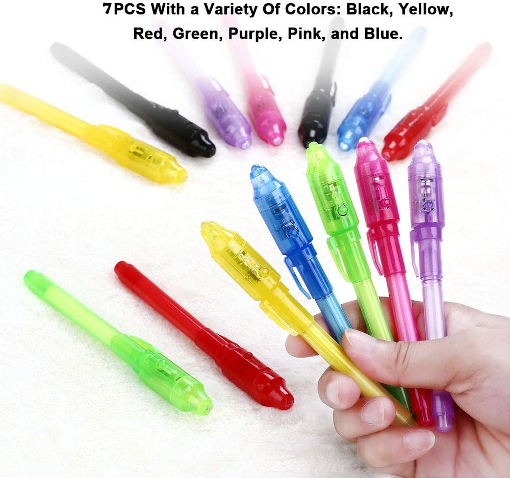 Gebuter 14pcs UV Light Pen Invisible Magic Pencil Secret Fluorescent Pen for Writing Pad Kids Child Drawing Painting Board