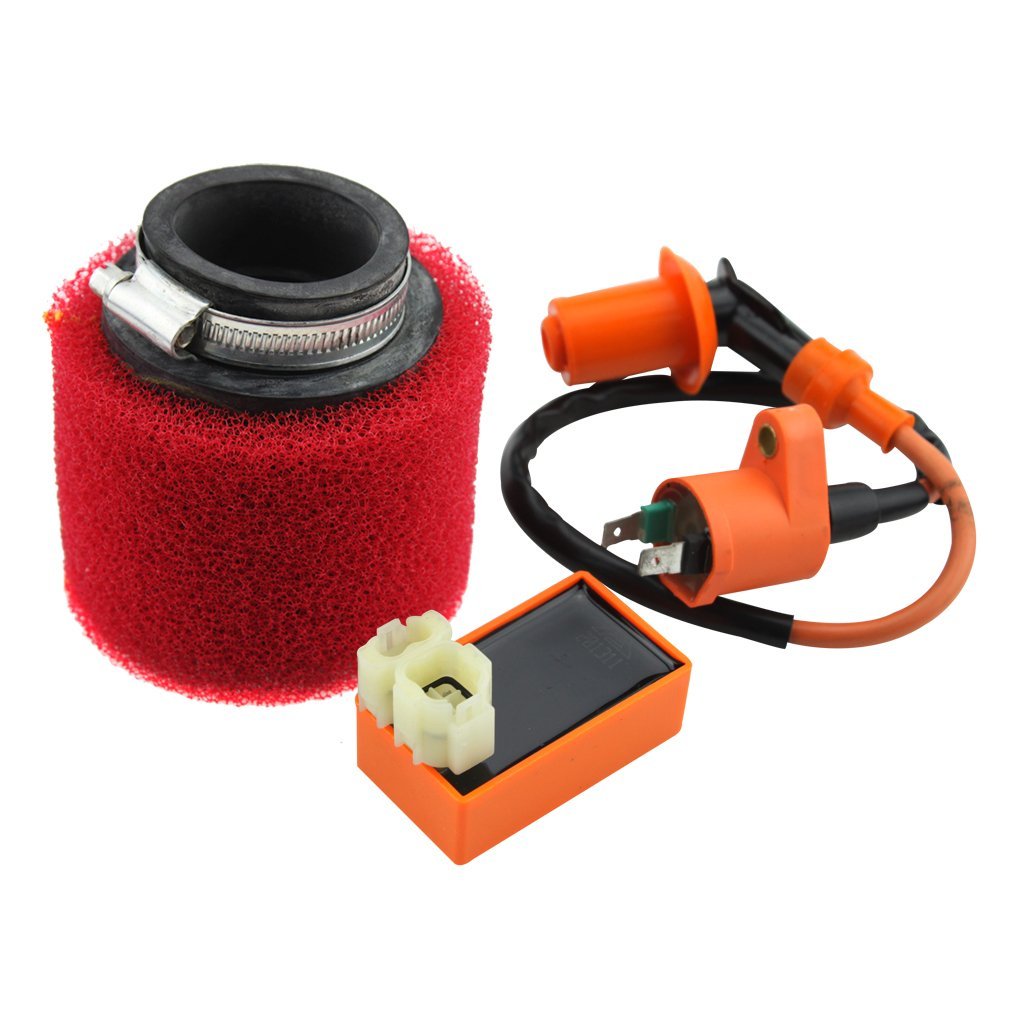 GOOFIT 6 Pin AC CDI Ignition Coil and Air Filter for GY6 50cc 125cc 150cc ATV Dirt Bike Go Kart Moped and Scooter Group-66