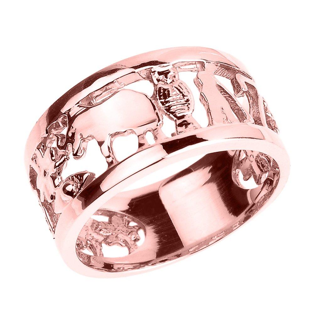 Amazon.com: Solid 10k Rose Gold Ring with Elephant, Owl, Horseshoe ...