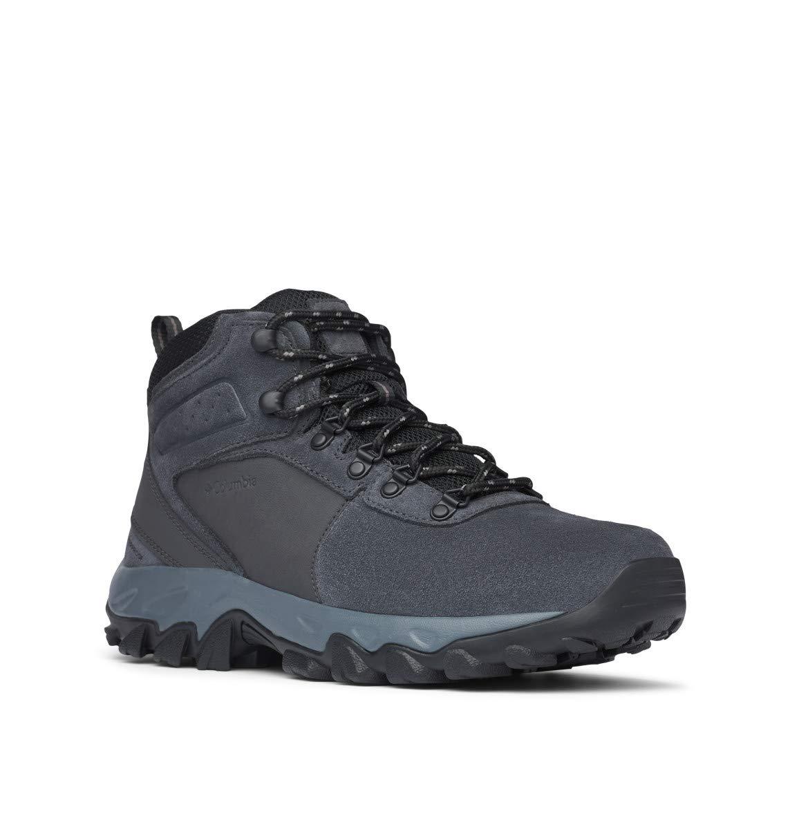 Columbia Men's Newton Ridge Plus II Suede Waterproof Boot, Breathable with High-Traction Grip Hiking, Shark, Black, 7.5 Regular US
