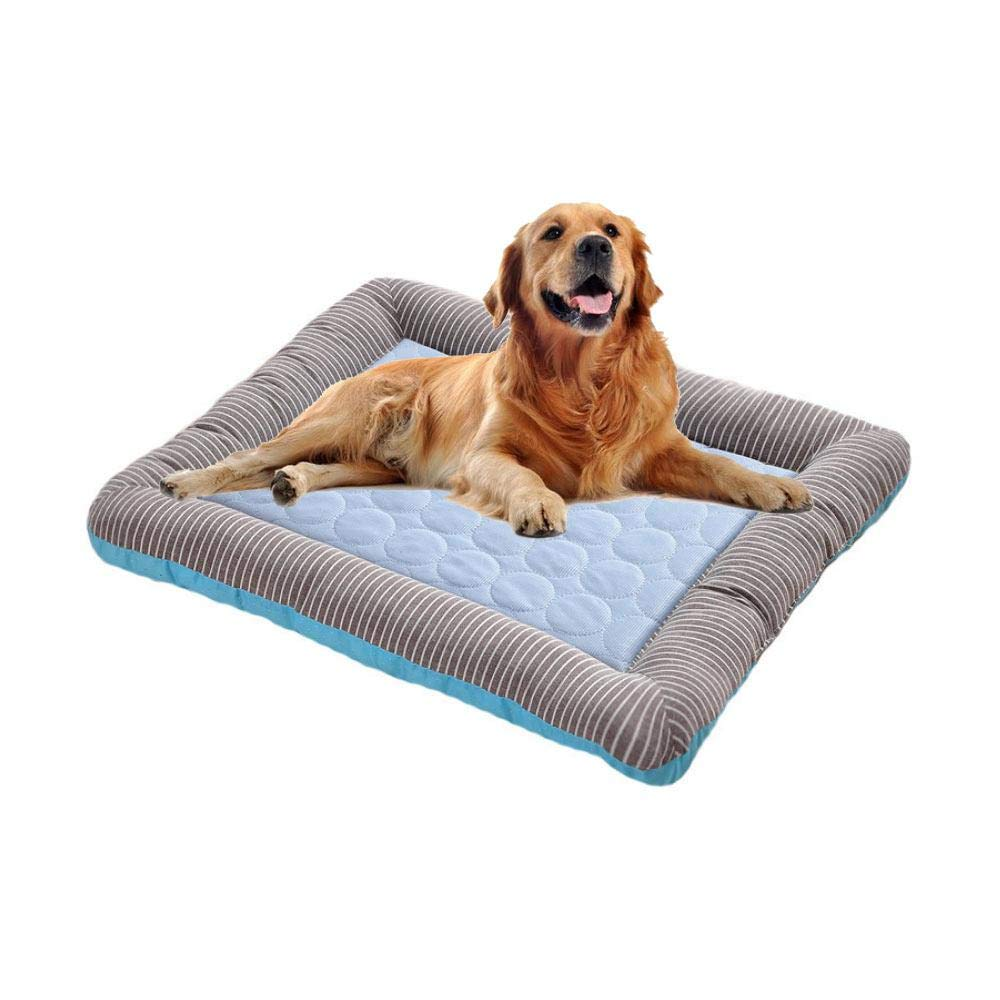 Designed for Summer Square Comfortable Cool Natural Sleeping Pad Mat for Dogs Cats Pink Dog Cooling Mat Bed Small Hamkaw Washable Pet Nest with Ice Silk Mat