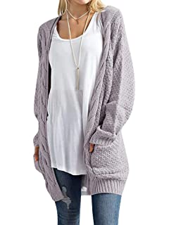 3ad7bd44d3 Sherrylily Womens Loose Open Front Long Sleeve Solid Color Knit Cardigans  with Two Packets