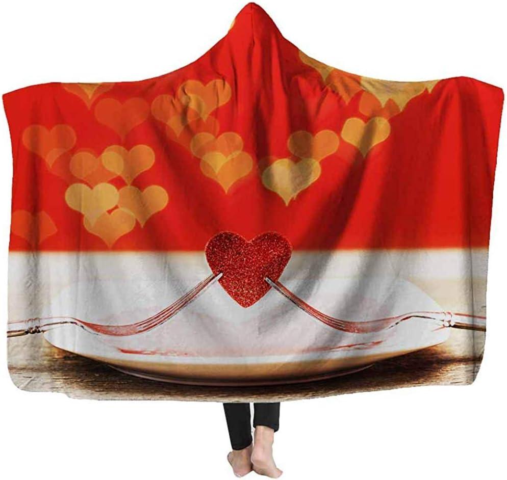 L.R.D Mantas con Capucha cálidas Dos con corazón Rojo Tablero de Madera Cena del día de San Valentín Manta Ligera de Lana Mantas con Capucha 60