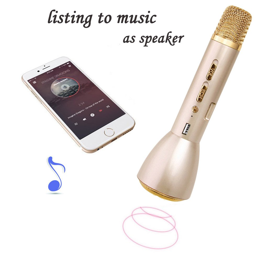 Bluetooth Microphone YTFGGY Portable Karaoke Player KTV with Bluetooth Speakers for Smule Sing Youtube Compatible with Apple iPhone Android Smartphone PC iPad (Gold)
