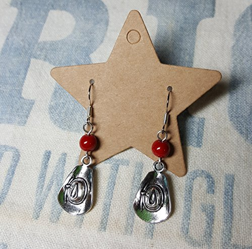 [Western Cowboy Hat Earrings with Red Stone Accent] (Cowgirl Hat Earrings)