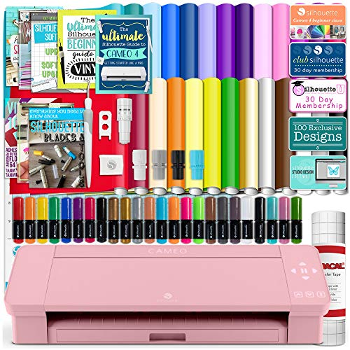 Silhouette Pink Cameo 4 Starter Bundle with 26 Oracal Vinyl Sheets, Transfer Paper, Class, Guides and 24 Sketch Pens