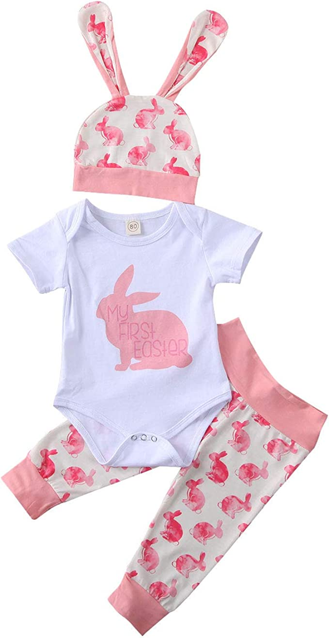 Details about  /Newborn Baby Kid Boy Girl Easter Carrot Romper Jumpsuit Rabbit Ears Hat Outfits