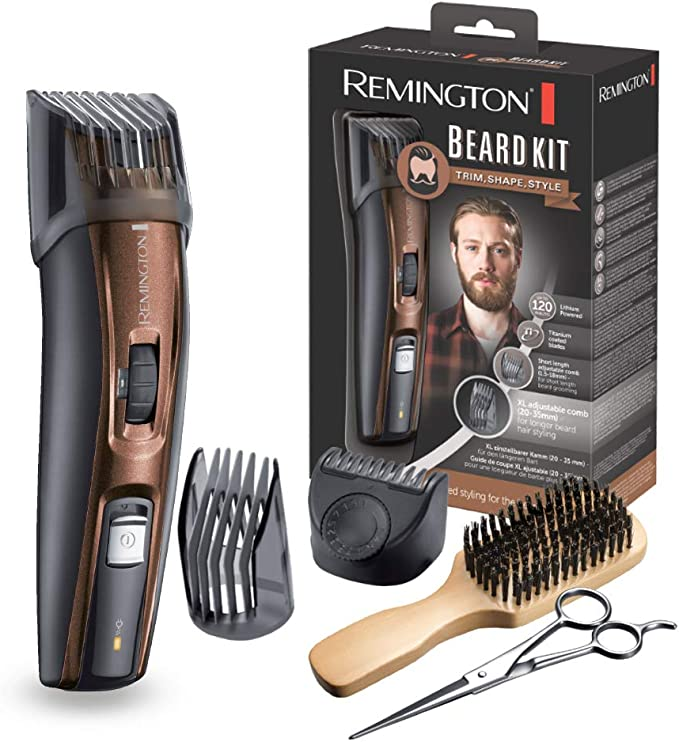 Remington MB4045 - Kit Recortador de Barba, 5 Accesorios y Barbero, Inalámbrico, Litio, Lavable, Negro y Marrón: Amazon.es: Salud y cuidado personal