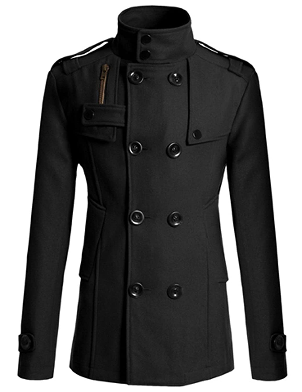 PAUL JONES Men's Classic Double Breasted Wool Blends Coat Jacket