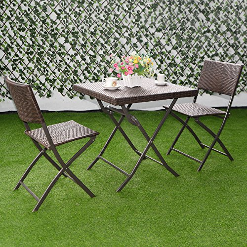 Patio Bistro Outdoor Folding Table And 2 Chairs Furniture