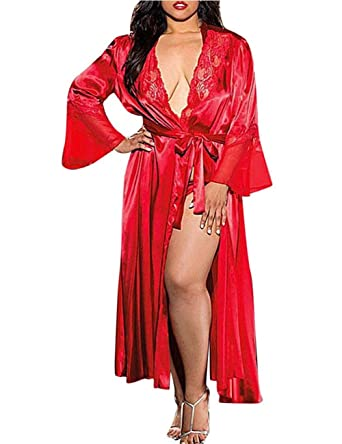 44a4c04ad0 Yiwa Sexy Lingerie Robe Lady Sexy Ice Silk Large Size Robe Pajamas  Hollow-Out Lace Gown Bathrobe with Waistband Nightgown  Amazon.co.uk   Clothing