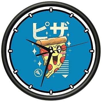 Amazoncom Signmission Pizza Kawaii Design Wall Clock