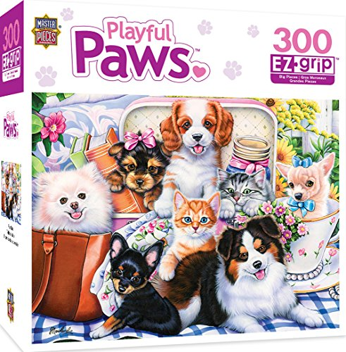 MasterPieces Playful Paws Sweet Things - Puppies & Kittens Large 300 Piece EZ Grip Jigsaw Puzzle by Jenny Newland by MasterPieces