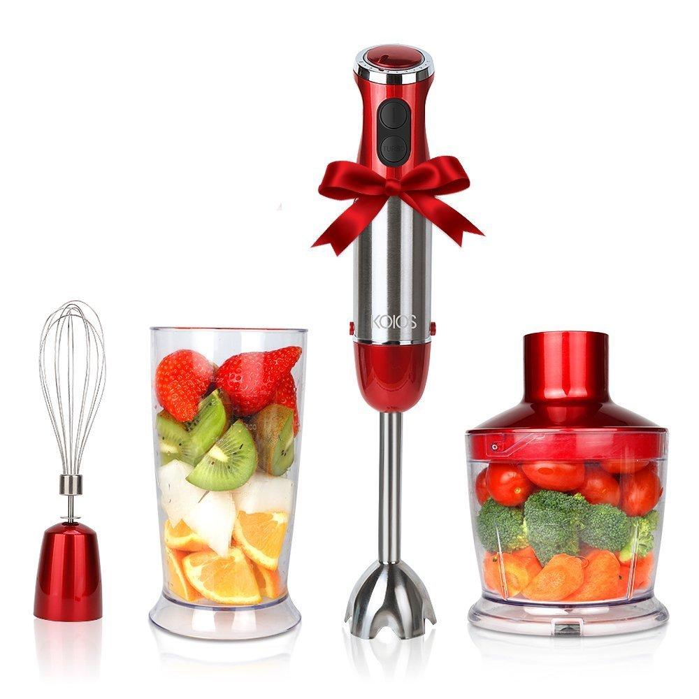 KOIOS Powerful 500 Watt Hand Blender Setting 6-12 Variable Speeds,4-in-1 Immersion Blender Includes Food Processor, BPA-Free Beaker and Stainless Steel Egg Whisk - Rose Red by KOIOS